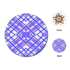 Geometric Plaid Pale Purple Blue Playing Cards (round)
