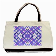 Geometric Plaid Pale Purple Blue Basic Tote Bag