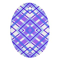 Geometric Plaid Pale Purple Blue Oval Ornament (two Sides)