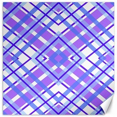 Geometric Plaid Pale Purple Blue Canvas 20  X 20