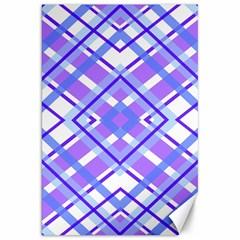 Geometric Plaid Pale Purple Blue Canvas 20  x 30