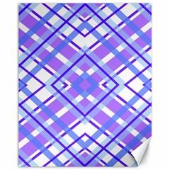 Geometric Plaid Pale Purple Blue Canvas 11  X 14