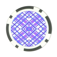 Geometric Plaid Pale Purple Blue Poker Chip Card Guard