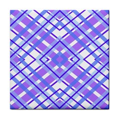Geometric Plaid Pale Purple Blue Face Towel