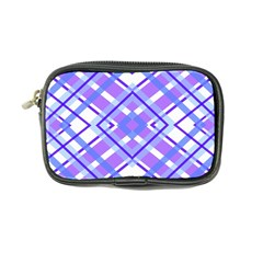 Geometric Plaid Pale Purple Blue Coin Purse
