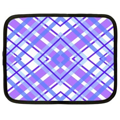 Geometric Plaid Pale Purple Blue Netbook Case (xxl)