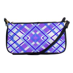 Geometric Plaid Pale Purple Blue Shoulder Clutch Bags