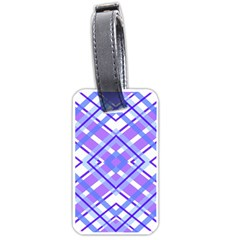 Geometric Plaid Pale Purple Blue Luggage Tags (one Side)