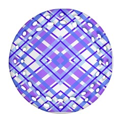 Geometric Plaid Pale Purple Blue Ornament (round Filigree)