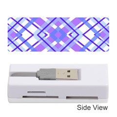 Geometric Plaid Pale Purple Blue Memory Card Reader (stick)