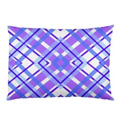 Geometric Plaid Pale Purple Blue Pillow Case (two Sides)