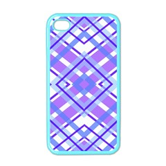 Geometric Plaid Pale Purple Blue Apple Iphone 4 Case (color)
