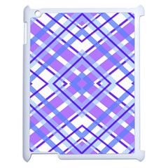 Geometric Plaid Pale Purple Blue Apple iPad 2 Case (White)