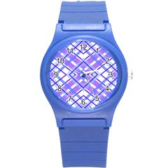 Geometric Plaid Pale Purple Blue Round Plastic Sport Watch (s)