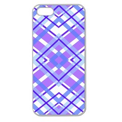 Geometric Plaid Pale Purple Blue Apple Seamless Iphone 5 Case (clear)