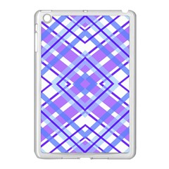 Geometric Plaid Pale Purple Blue Apple Ipad Mini Case (white)