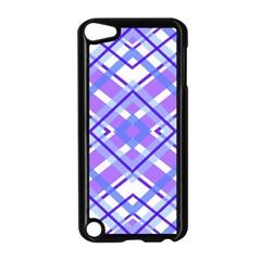 Geometric Plaid Pale Purple Blue Apple Ipod Touch 5 Case (black)