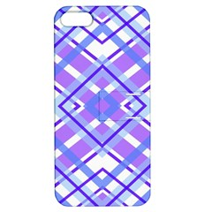 Geometric Plaid Pale Purple Blue Apple Iphone 5 Hardshell Case With Stand
