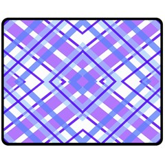 Geometric Plaid Pale Purple Blue Double Sided Fleece Blanket (medium)