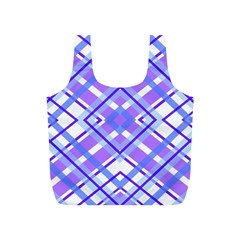 Geometric Plaid Pale Purple Blue Full Print Recycle Bags (S)