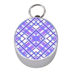 Geometric Plaid Pale Purple Blue Mini Silver Compasses