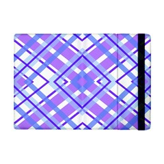 Geometric Plaid Pale Purple Blue Ipad Mini 2 Flip Cases