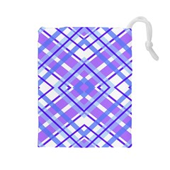 Geometric Plaid Pale Purple Blue Drawstring Pouches (large)