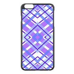 Geometric Plaid Pale Purple Blue Apple Iphone 6 Plus/6s Plus Black Enamel Case