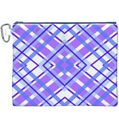 Geometric Plaid Pale Purple Blue Canvas Cosmetic Bag (xxxl)