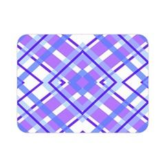 Geometric Plaid Pale Purple Blue Double Sided Flano Blanket (mini)