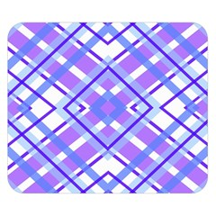 Geometric Plaid Pale Purple Blue Double Sided Flano Blanket (Small)