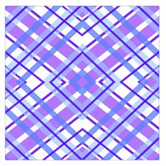 Geometric Plaid Pale Purple Blue Large Satin Scarf (Square)