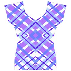 Geometric Plaid Pale Purple Blue Women s V-Neck Cap Sleeve Top