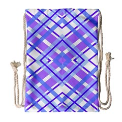 Geometric Plaid Pale Purple Blue Drawstring Bag (large)