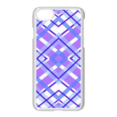 Geometric Plaid Pale Purple Blue Apple Iphone 7 Seamless Case (white)