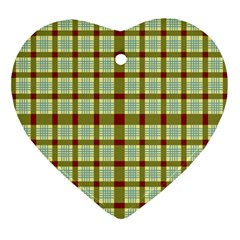Geometric Tartan Pattern Square Ornament (heart)