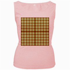 Geometric Tartan Pattern Square Women s Pink Tank Top