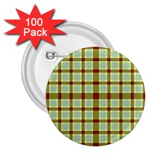 Geometric Tartan Pattern Square 2.25  Buttons (100 pack)