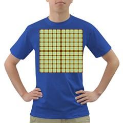 Geometric Tartan Pattern Square Dark T-Shirt