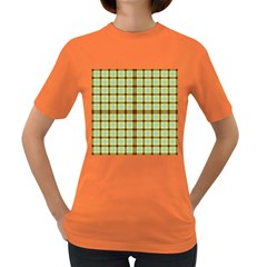Geometric Tartan Pattern Square Women s Dark T Shirt