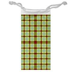 Geometric Tartan Pattern Square Jewelry Bag