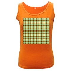 Geometric Tartan Pattern Square Women s Dark Tank Top