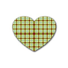 Geometric Tartan Pattern Square Rubber Coaster (Heart)
