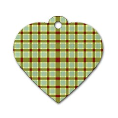 Geometric Tartan Pattern Square Dog Tag Heart (One Side)