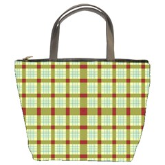 Geometric Tartan Pattern Square Bucket Bags