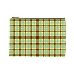 Geometric Tartan Pattern Square Cosmetic Bag (Large)