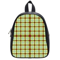 Geometric Tartan Pattern Square School Bags (small)