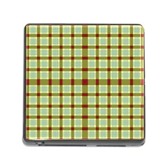 Geometric Tartan Pattern Square Memory Card Reader (square)
