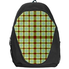 Geometric Tartan Pattern Square Backpack Bag