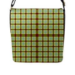Geometric Tartan Pattern Square Flap Messenger Bag (l)